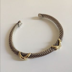 David yurman double cross cuff  bracelet 5mm